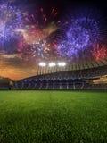 Puesta del sol del estadio con las fans de la gente 3d rinden el cielo nublado del ejemplo Fotografía de archivo