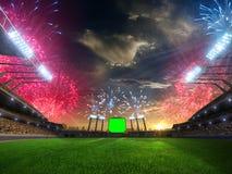 Puesta del sol del estadio con las fans de la gente 3d rinden el cielo nublado del ejemplo Imagen de archivo