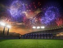 Puesta del sol del estadio con las fans de la gente 3d rinden el cielo nublado del ejemplo Fotografía de archivo libre de regalías