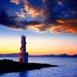 Puesta del sol del faro de Savina del La en Formentera Imagen de archivo libre de regalías