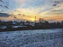 Puesta del sol del ferrocarril del siberiano del transporte Fotografía de archivo