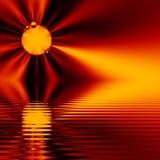 Puesta del sol del fractal, en el agua (fractal16b2) Foto de archivo libre de regalías