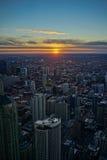 Puesta del sol del horizonte de Chicago fotografía de archivo