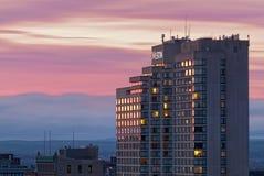 Puesta del sol del hotel de Westin Imagenes de archivo