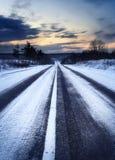 Puesta del sol del invierno Fotografía de archivo libre de regalías