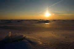 Puesta del sol del invierno Fotografía de archivo