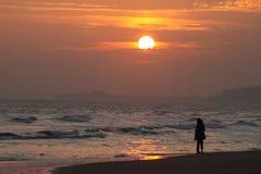 Puesta del sol del invierno de Bournemouth Fotos de archivo