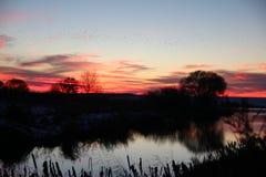 Puesta del sol del invierno en el lago fotografía de archivo libre de regalías