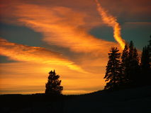 Puesta del sol del invierno en paso de la pista del lagarto Imagen de archivo libre de regalías