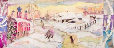 Puesta del sol del invierno en pueblo Imagen de archivo libre de regalías