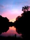 Puesta del sol del lago Fotografía de archivo