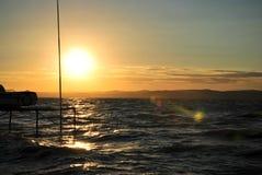 Puesta del sol del lago Balatón Fotografía de archivo