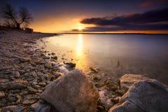 Puesta del sol del lago Benbrook Foto de archivo libre de regalías