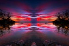 Puesta del sol del lago Benbrook imagenes de archivo
