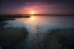 Puesta del sol del lago de Harray Foto de archivo libre de regalías