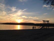 Puesta del sol del lago Lemán Imágenes de archivo libres de regalías