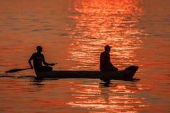 Puesta del sol del lago Malawi Imagenes de archivo