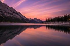 Puesta del sol del lago medicine Foto de archivo libre de regalías