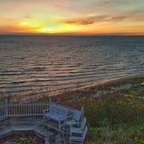 Puesta del sol del lago Michigan Fotos de archivo
