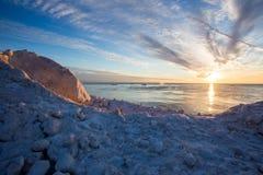 Puesta del sol del lago Michigan fotos de archivo libres de regalías
