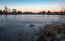 Puesta del sol del lago mill Imágenes de archivo libres de regalías