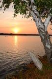 Puesta del sol del lago september's Foto de archivo libre de regalías