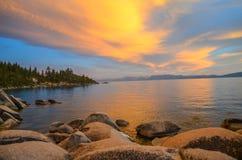 Puesta del sol del lago Tahoe Fotos de archivo libres de regalías