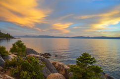 Puesta del sol del lago Tahoe Fotografía de archivo