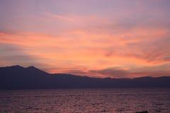 Puesta del sol del lago Tahoe Fotos de archivo