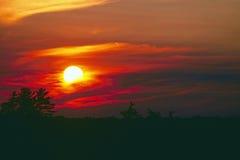 Puesta del sol del lago thunder Fotos de archivo libres de regalías