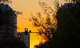 Puesta del sol del light del tráfico Imágenes de archivo libres de regalías