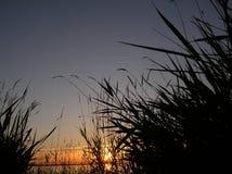 Puesta del sol del mar Foto de archivo libre de regalías