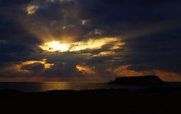 Puesta del sol del mar foto de archivo