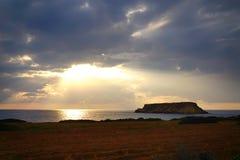Puesta del sol del mar fotografía de archivo libre de regalías