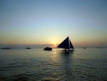 Puesta del sol del mar, Boracay, Filipinas Foto de archivo libre de regalías
