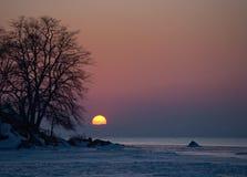 Puesta del sol del mar de Japón Fotografía de archivo libre de regalías
