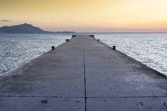 Puesta del sol del mar de Monte di Procida Italian Fotografía de archivo