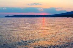 Puesta del sol del mar en colores naturales Imágenes de archivo libres de regalías