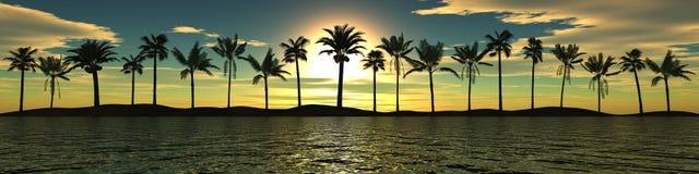 Puesta del sol del mar Panorama Paisaje tropical Fotos de archivo