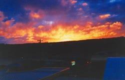 Puesta del sol del motel Imagen de archivo libre de regalías