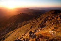 Puesta del sol del Mt Buller imagenes de archivo