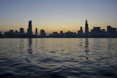 puesta del sol del newyork imagen de archivo