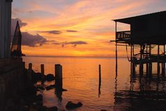 Puesta del sol del océano Imagen de archivo libre de regalías