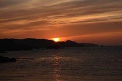 Puesta del sol del océano de la primavera Foto de archivo