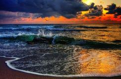 Puesta del sol del océano Fotografía de archivo