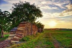 Puesta del sol del país Imagen de archivo libre de regalías