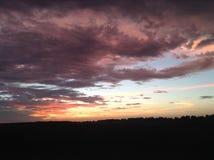 Puesta del sol del país Fotografía de archivo libre de regalías