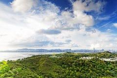 Puesta del sol del país de Hong-Kong fotos de archivo