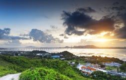 Puesta del sol del país de Hong-Kong fotos de archivo libres de regalías