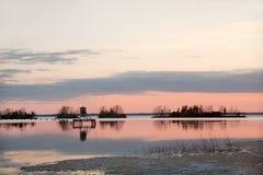 Puesta del sol del paisaje en Joensuu Finlandia Imagen de archivo libre de regalías